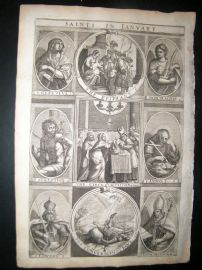 Ribadeneyra 1669 Folio Religious Print. Saints of January